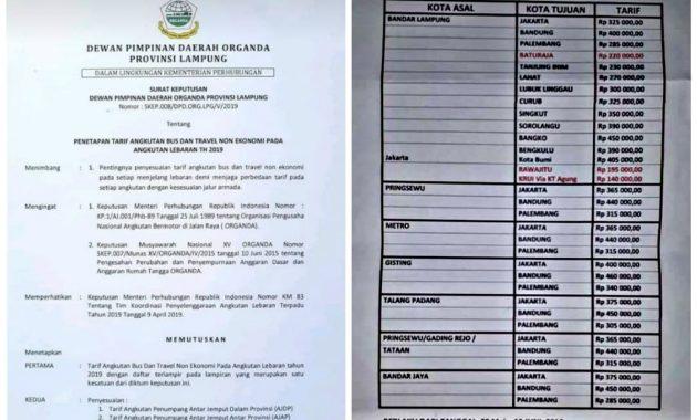 Harga Tiket Travel Lampung Lebaran 2019